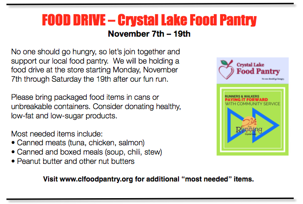 Food Drive For Cl Food Pantry 117 To 1119 The Running Depot News